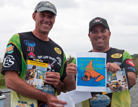 The Redfish Guys, Lee Padrick and Dwayne Smith, after a tournament win.